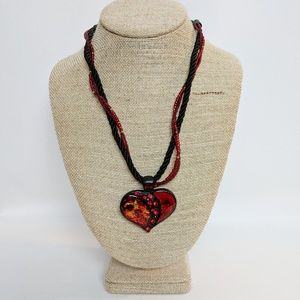 Chico's Red & Black Seed Bead Heart Necklace